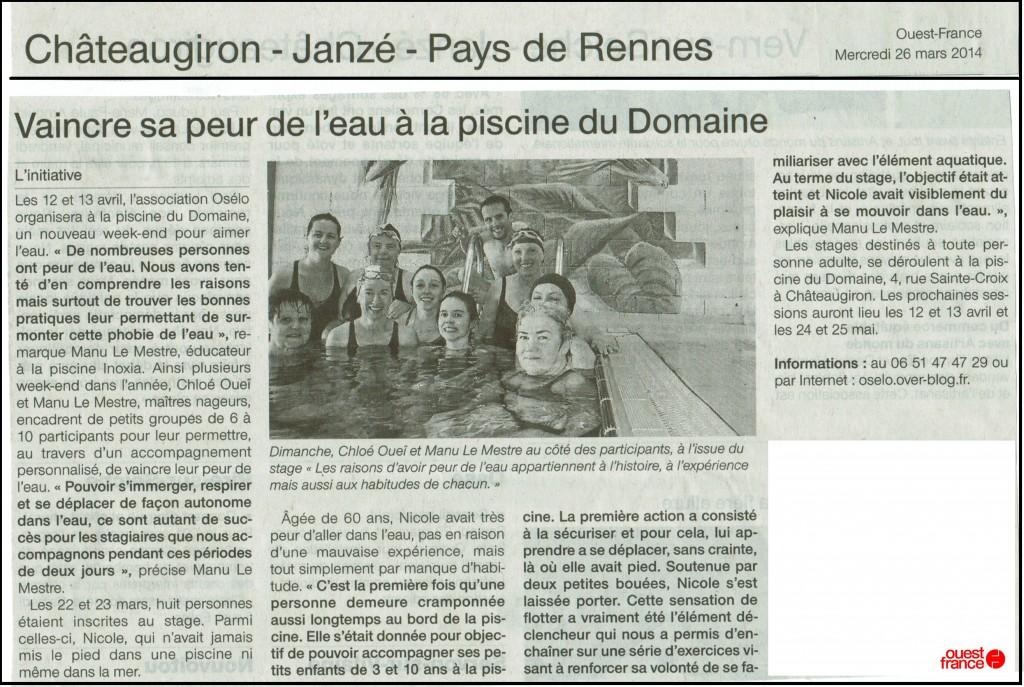 Article presse du 26 mars 2014 par Ouest France  intitulé vaincre sa peur de l'eau à la piscine du Domaine