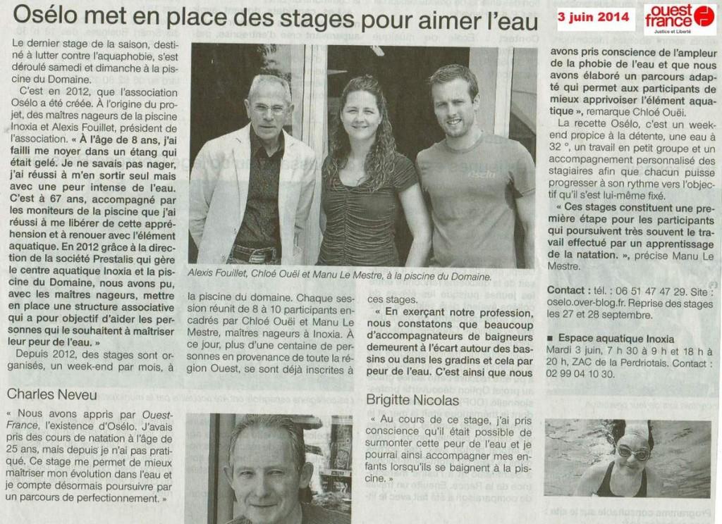 Article presse ouest-france dont le titre est osélo met en place des stages pour aimer l'eau datant du 3 juin 2014