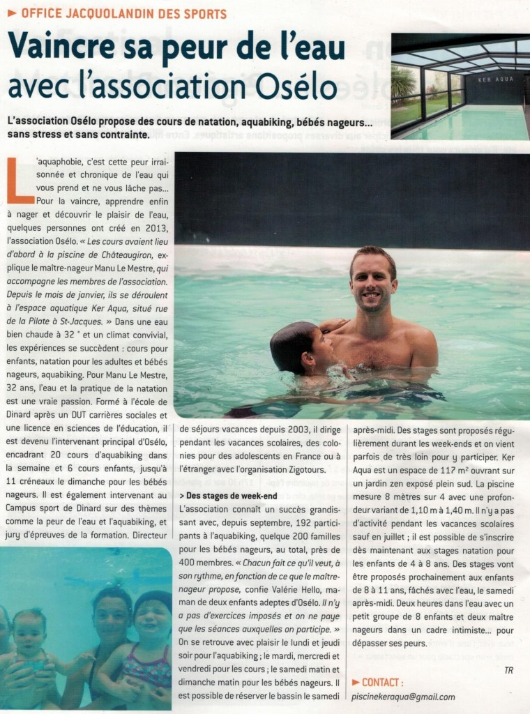 Article presse par l'Office Jacquolandin des sports intitulé vaincre sa peut de l'eau avec l'association osélo