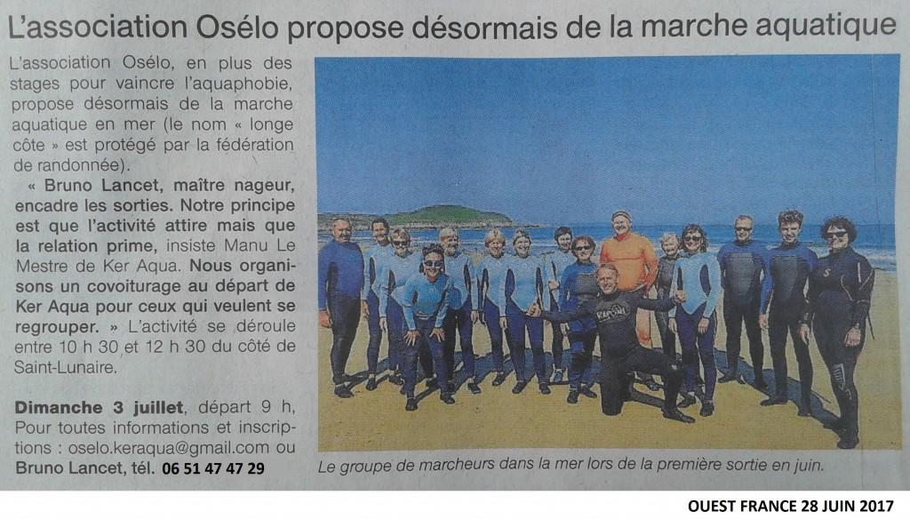 Article presse du 28 Juin 2017 par Ouest France intitulé l'association osélo propose désormais de la marche aquatique