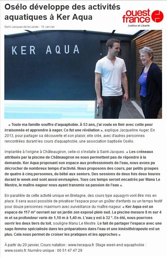 Article presse réalisé par ouest france en janvier 2015 intitulé osélo développe des activités aquatiques à Ker Aqua