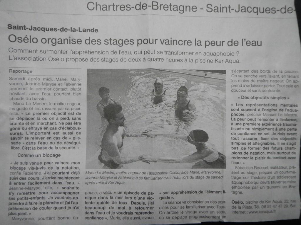 Article presse par Ouest France intitulé osélo organise des stages pour vaincre la peur de l'eau