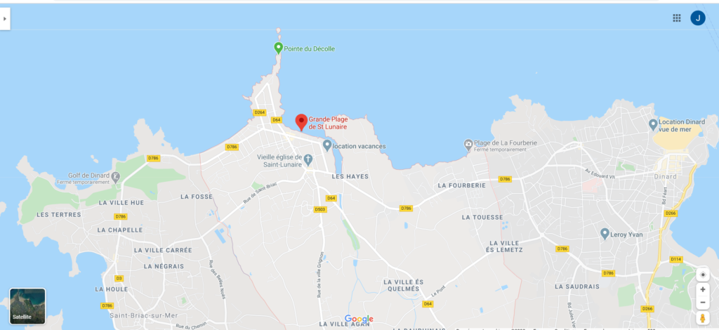 Osélo plan d'accès plage de Saint Lunaire point de rendez-vous de la marche aquatique