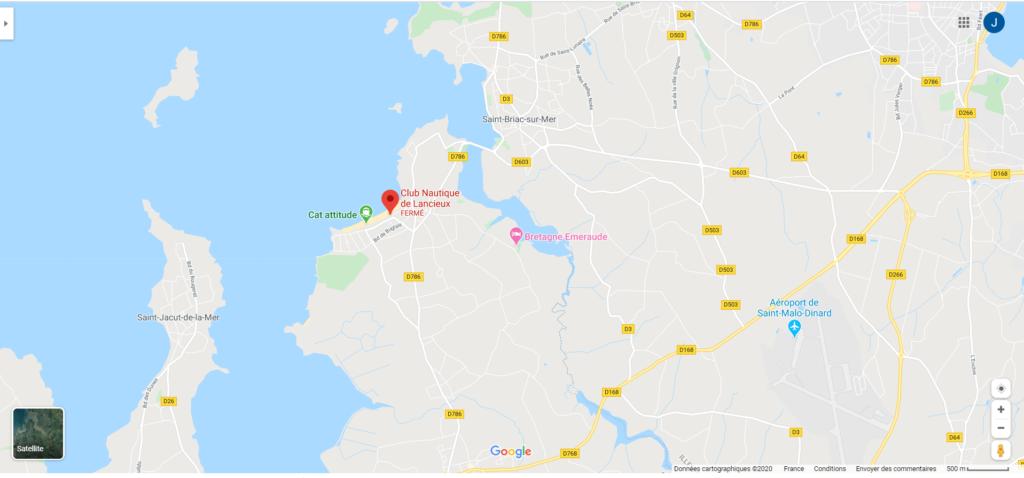 Osélo plan d'accès plage de Lancieux point de rendez-vous de la marche aquatique